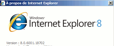 about IE: '8'